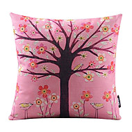 Romantic Pink Tree Cotton/Linen Decorative Pillow Cover