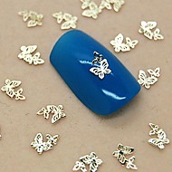 200PCS Double Hollow Butterfly Golden Metal Slice Nail Art Decoration
