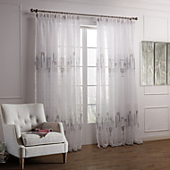 Dois Painéis Tratamento janela Moderno Quarto Poliéster Material Sheer Curtains Shades Decoração para casa For Janela