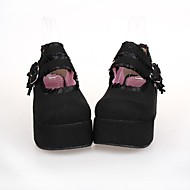 Black PU Leather 7CM Platform Classic & Traditional Lolita Shoes