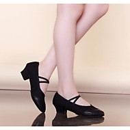 Non Customizable Women's Dance Shoes Modern Leather/Canvas Flat Heel Black/Red