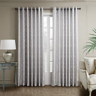Two Panels Neoclassical Curve Grey Bedroom Polyester Curtains Drapes