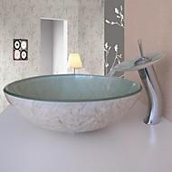 łazienka umywalka zestaw, naczynie z hartowanego szkła wodospad kran zlew, montaż pierścienia i odpływ wody