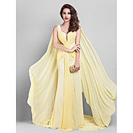 TS Couture Formal Evening Dress - Daffodil Plus Sizes / Petite Sheath/Column V-neck Court Train Georgette