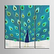 Reproducción en lienzo de arte el conjunto de pavo real de 3