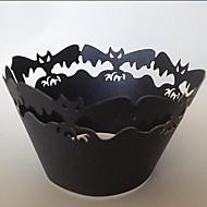 halloween bat cupcake wrapper, řezání laserem, party laskavost dekorace 60ks
