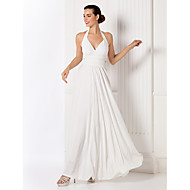 Formal Evening/Prom/Military Ball Dress - White Sheath/Column Halter Floor-length Jersey