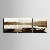 Canvas Art Paisagem do lago de barco conjunto de 3