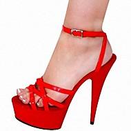 Women's Summer Heels / Platform Leatherette Party & Evening Stiletto Heel Buckle Red
