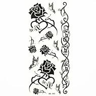 negro impermeable rosa etiqueta engomada del tatuaje del molde muestra de tatuajes temporales de arte corporal (18.5cm * 8.5cm)