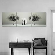 Stretched Canvas Art Dating In The Moonlight Decorative Painting Set of 3