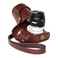 pajiatu® pu fotocamera pelle olio di cuoio della copertura del sacchetto custodia protettiva per lenti Samsung NX300 18-55mm o obiettivo primario
