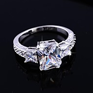 Women's High Quality Classic Platinum Electroplate Zircon Wedding Rings