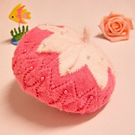 perła zimowych Plus aksamit gruby ciepły czapka z wełny dla dzieci 1-2 lat