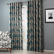 Room Darkening Chic Country Leaves Pattern Curtain Two Panels
