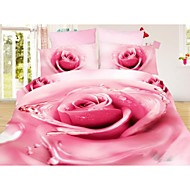 Shuian® Duvet Cover Set, 4 Piece Suit Twill 100% Cotton Comfort Simple Modern with 3D Flower Pattern