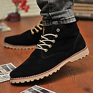 Men's Spring / Summer / Fall / Winter Round Toe Leatherette Casual Flat Heel Lace-up Black / Blue / Yellow / Green