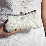 Women Bags Satin Evening Bag with Pearl Sequin Imitation Pearl for Wedding Black Blushing Pink Ivory