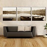 Reproducción en lienzo de arte Paisaje Lake Boat Set de 3