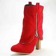 Sort / Brun / Rød / Grå - Tyk hæl - Kvinders Sko - Rund tå / Modestøvler - Syntetisk ruskind - Formelt - Støvler