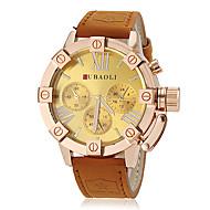 JUBAOLI® Men's Fashion Gold Case Khaki Leather Band Quartz Wrist Watch (Assorted Colors) Cool Watch Unique Watch