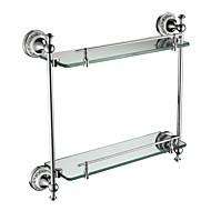 Contemporary Chrome Finish Glass Shelf With Rail