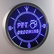 nc0291 Pet Grooming Dog Cat Shop Neon Sign LED Wall Clock