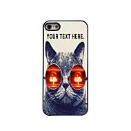 εξατομικευμένη περίπτωση που η γάτα με τα γυαλιά σχεδιασμό μεταλλική θήκη για το iphone 5 / 5s