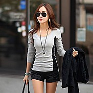 Women's  Fashion  Slim  Splicing   Long  Sleeve  T-shit