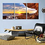 Stretched Canvas Art Landscape stranden av Sunset Set med 3