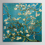 Canvas Print Paintings Almond Branches in Bloom San Remyc.1890 by Vincent Van Gogh Hand-Painted Ready to Hang