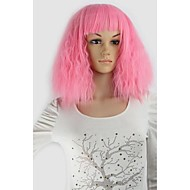 Short Party Wig Corn Wave Cosplay Pink Colorful Synthetic Hair Wig