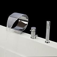 現代風 バスタブとシャワー 滝状吐水タイプ ハンドシャワーは含まれている with  セラミックバルブ シングルハンドル三穴 for  クロム , 浴槽用水栓