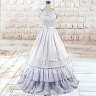 Sleeveless Floor-length White Cotton Silk Gothic Lolita Dress