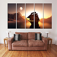 Stretched Canvas Art Sunset Sailboat Set of 5