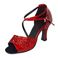 Non Customizable Women's Dance Shoes Latin Paillette Stiletto Heel Red