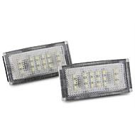 2 stk 18 ledet 3528 smd antall lisens plate lys hvit til BMW E46 2d