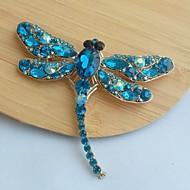 vrouwen klassieke legering goud-tone turquoise strass kristallen libelle broche pin
