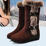 Women's Shoes Leatherette Spring / Fall / Winter Snow Boots Casual Low Heel Buckle / Fur Black / Brown