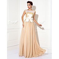 TS Couture® Formal Evening / Prom / Military Ball Dress - Champagne Plus Sizes / Petite Sheath/Column Bateau Floor-length Chiffon / Stretch Satin