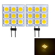 G4 W 9 SMD 5050 90~100 LM 3000~3500 K Warm wit 2-pins lampen DC 12 V