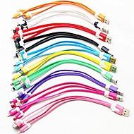 3-в-1 USB для 8pin / 30pin / MicroUSB / синхронизации данных / зарядное устройство с лапшой кабель для Samsung и других телефонов (разных цветов)