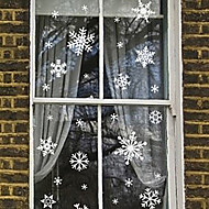 "Merry Christmas Elegant Solid Snowflake Window Sticker (11.76""W × 7.92""L)"