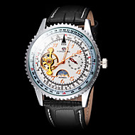 FORSINING® Men's Moon Phase Decor Black Leather Band Automatic Self Wind Wrist Watch Cool Watch Unique Watch Fashion Watch