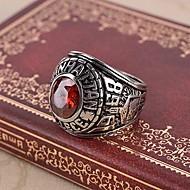 Ring,Steel Imitation Ruby Birthstones Jewelry Statement Rings