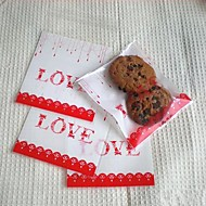 50pcs LOVE Self Adhesive Cookie Bakery Candy Biscuit Jewelry Gift Plastic Bag Baby Birthday Wedding Decorations