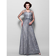 Lanting A-line Plus Sizes / Petite Mother of the Bride Dress - Silver Floor-length 3/4 Length Sleeve Tulle / Lace