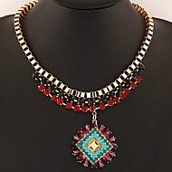europæisk stil, mode blændende smukke ædelsten vedhæng metal temperament halskæde