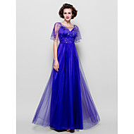 Lanting Bride® A-line Plus Size / Petite Mother of the Bride Dress - See Through Floor-length Short Sleeve Tulle withBeading / Crystal