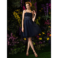 Homecoming Cocktail Party Dress - Dark Navy A-line Spaghetti Straps Knee-length Tulle